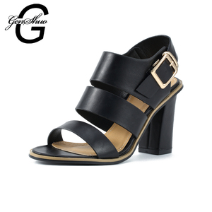 Image 2 - GENSHUO Women Sandals Gladiator Black Buckle Strap Sandals for Women Chunky Heels Summer Shoes Ladies Block Heel White Sandals