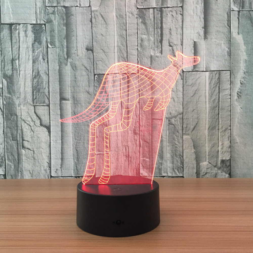 Kangaroo 3D Lamp 7 Colors Led Night Lights for Kids Touch USB Table Lampara Lampe Baby Sleeping Tablelamp Birthday Gift Decor