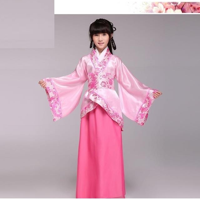 Chinese Folk Dance Children Traditional Chinese Clothing Embroidery Tang Suit Girls Ancient Dance Hanfu Costume Fairy Outfits Stage Performance A Great Variety Of Models