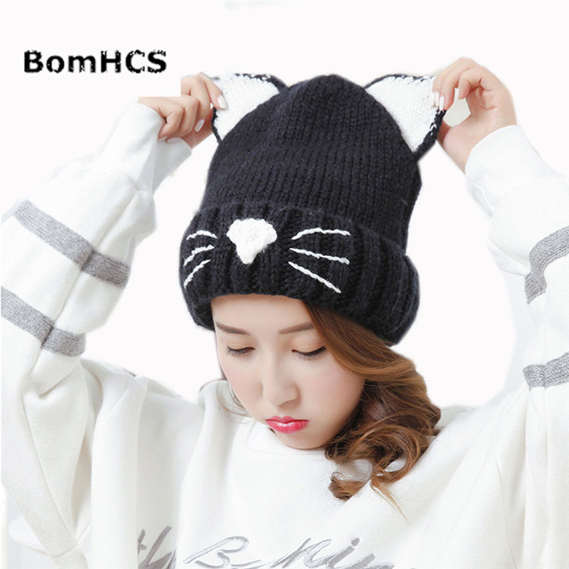 BomHCS Cute Cat Ears Beanie Hat New Autumn Winter Warm Handmade Knitting Cap Gifts gift children knitting wool hat cute keep warm rabbit beanie cap autumn and winter hat with earflaps whcn