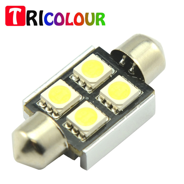 TRICOLOUR 4X C5W 5050 4 smd 31mm 36mm 39mm 41mm Festoon Canbus Error Free Dome interior car led light Bulbs white 12V DC #TK17-1