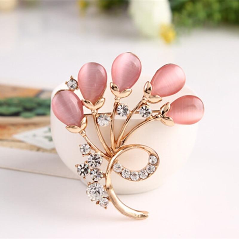 Luxurious Full Shining Rhinestone Crystal Opals Flower Brooch Pins Wedding Gift Brooches For Women Silk Scarves