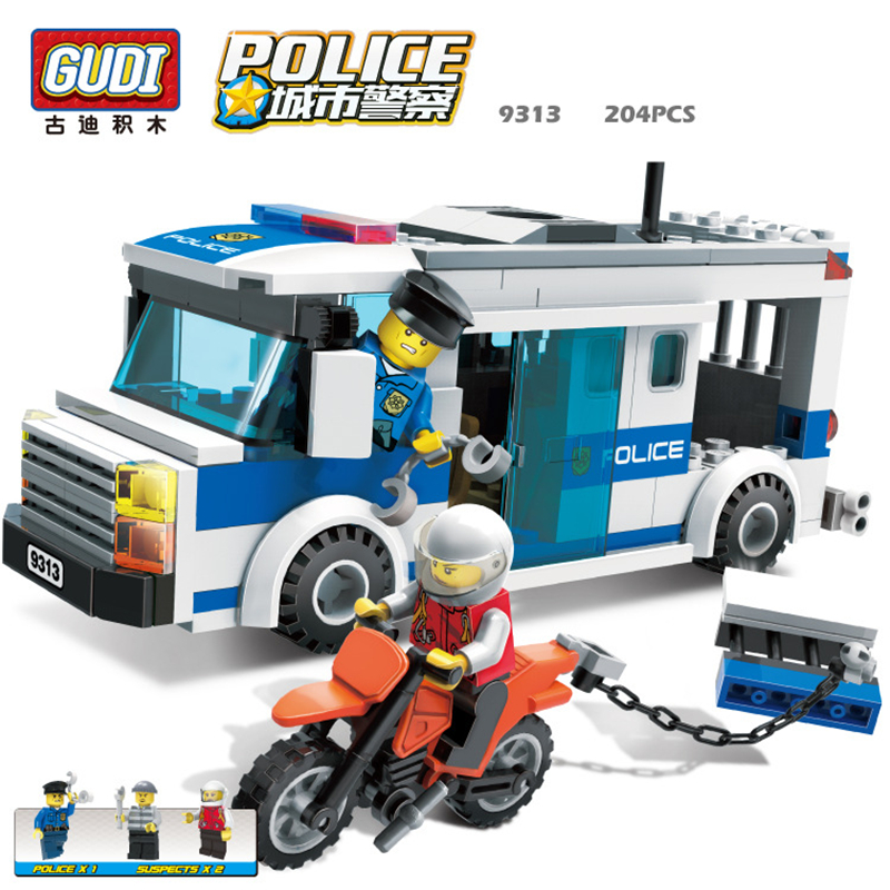 GUDI City police Series Educational diy Building Block  Kids Toy Compatible With Legoe  Birthday Gift  Brinquedos for boy 9313 enlighten city series tractor building blocks compatible with legoe minifigure city construction children educational toy gift