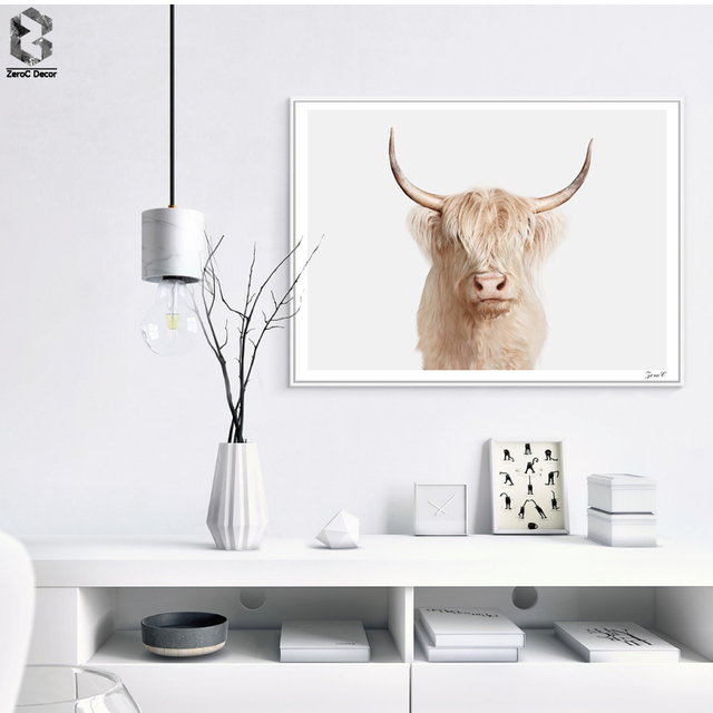 Wall Art Highland Cow Print And Poster Cattle Canvas Paintings For Living Room Decor