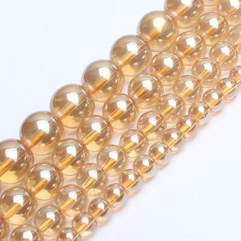 Złoty kolor 6 8 10 12mm koraliki szklane koraliki luźne spacer koraliki okrągłe koraliki DIY Biżuteria Making bransoletka naszyjnik 15 cali Strand tanie i dobre opinie Fine Beads 20-80g Yellow Gold 6mm-12mm Round Shape F01124 GMB724 Brak Golden Glass Beads Making Bracelet Necklace beads for jewelry making
