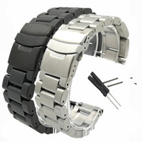 26mm New For Garmin Fenix3 Smart Watchband Black Silver Bracelet Stainless Steel Metal Watch Band Strap + 2pcs Screw + 2Pcs Tool