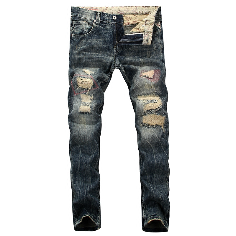 Destroyed Men`s Zipper Jeans Slim Fit Denim Pants Uomo Mid Stripe Quality Designer Brand Clothing Moto Jeans Patchwork Men RL624 classic mid stripe men s buttons jeans ripped slim fit denim pants male high quality vintage brand clothing moto jeans men rl617