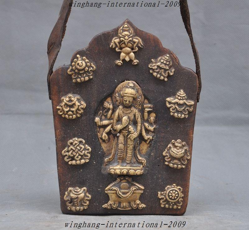 christmas antique Tibet Tantra Old Wood bronze 8 Arms Kwan-yin Garuda Buddha Tangka Shrine halloweenchristmas antique Tibet Tantra Old Wood bronze 8 Arms Kwan-yin Garuda Buddha Tangka Shrine halloween
