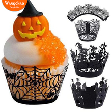 12pcs/set Halloween Cake Wrapper Black Spider Wed and Pumpkins Cute Horror Castle Edge New Listing 2018