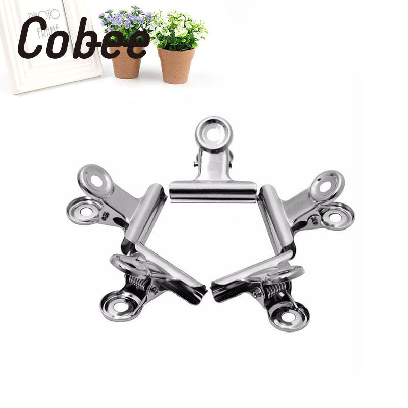 10pcs Mini Bulldog Stainless Steel Silver Metal Paper Grip Clips Clamp Supplies