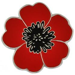 Custom Metal Red Poppy Flower Lapel Badges Pins Iron Plated Brass