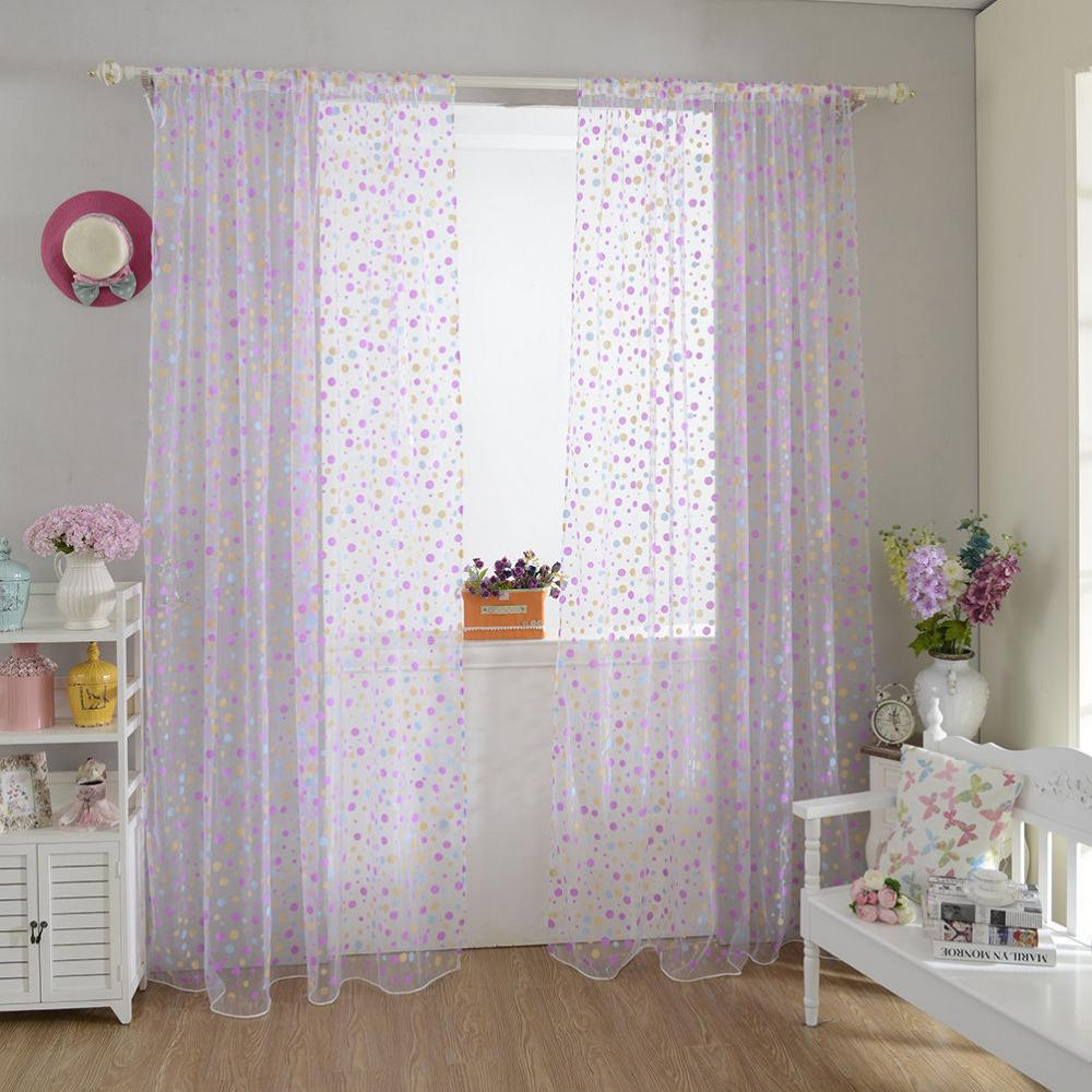 Purple polka dot curtains - Curtain Polka Dots Drape Panel Sheer Scarf Valance Tulle Voile Door Room Window Curtains 100cm X 200cm In Curtains From Home Garden On Aliexpress Com