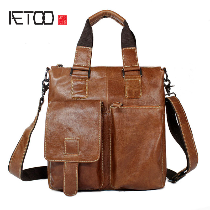AETOO Men's first layer of leather leather bag shoulder purse retro bag hand tide Korean casual leather handbag shoulder bag casual first layer of leather men s oil wax messenger bag korean man bag tide
