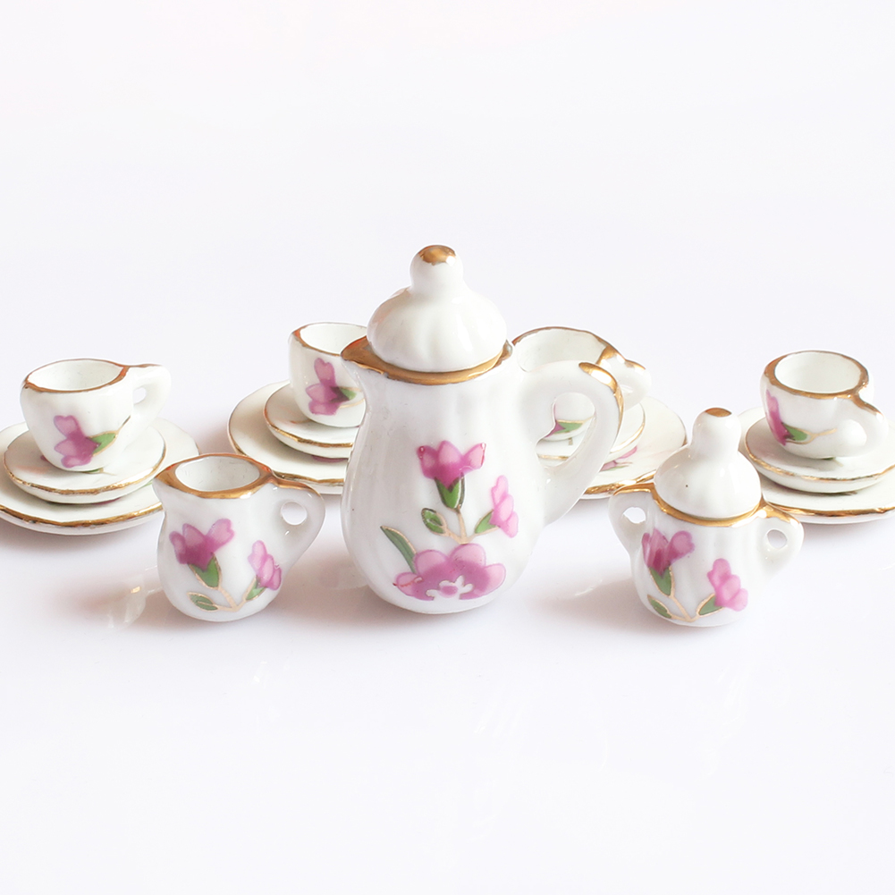 Image 4 - Creative Ceramic Mini Tea Set Green Flower Pattern Porcelain Ceramic Tea Set Kids Toy Mini Kitchen Toy for Kids Adults 15pcs-in Kitchen Toys from Toys & Hobbies