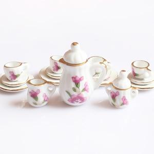 Image 4 - Creative Ceramic Mini Tea Set Green Flower Pattern Porcelain Ceramic Tea Set Kids Toy Mini Kitchen Toy for Kids Adults 15pcs