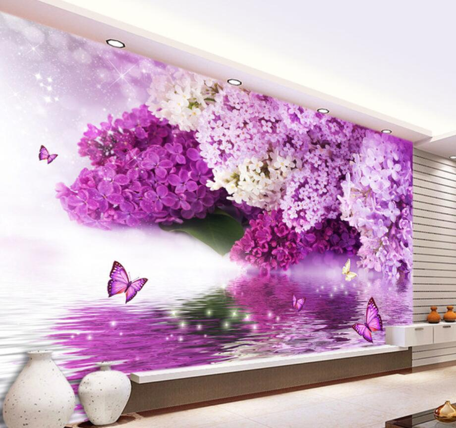 beibehang Custom wallpaper purple flowers water reflection butterfly background wall home decor living room bedroom 3d wallpaper