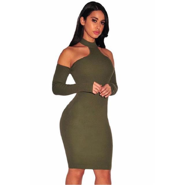 5b7c9f810 Verde del ejército de Punto Acanalado Gargantilla Hombro Hasta La Rodilla  Vestido de Bodycon Atractivo Del