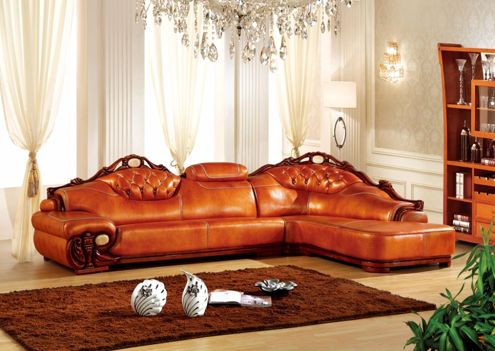 European Leather Sofa Set Living Room Sofa Made In China L Shape