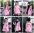 New Fashion Winter Parka Girls Kids Long Duck Down Jacket Warm Thicken Children Wadded Coat Fur Hooded Down Outerwear Clothing