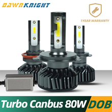 H7 Led Canbus Turbo H4 H1 H3 9005 9006 H8 H9 H11 Lamp 80W 120000LM Mini Size DOB Chip Car Headlight no errors