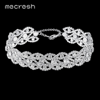 Mecresh Crystal Bridal Choker Necklace Elegant Silver Color Eyes Shape Collares Mujer Party Wedding Jewelry For