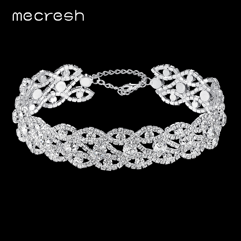 Mecresh Rhinestone Choker Necklace for Women Elegant Silver Color Eyes-Shape Chocker Party Wedding Jewelry MXL106 punk style solid color hollow out rhinestone leaf shape pendant necklace for women