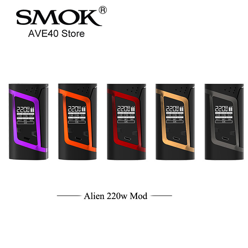 100% Original Electronic cigarette SMOK Alien 220w Mod TC Box Mod 510 thread Vaporizer Match for TFV8 Baby Tank VS AL85 Mod Vape original smok g150 tc box mod with 4200mah battery g150 mod vs smok alien vaporizer e cigarette vape kit