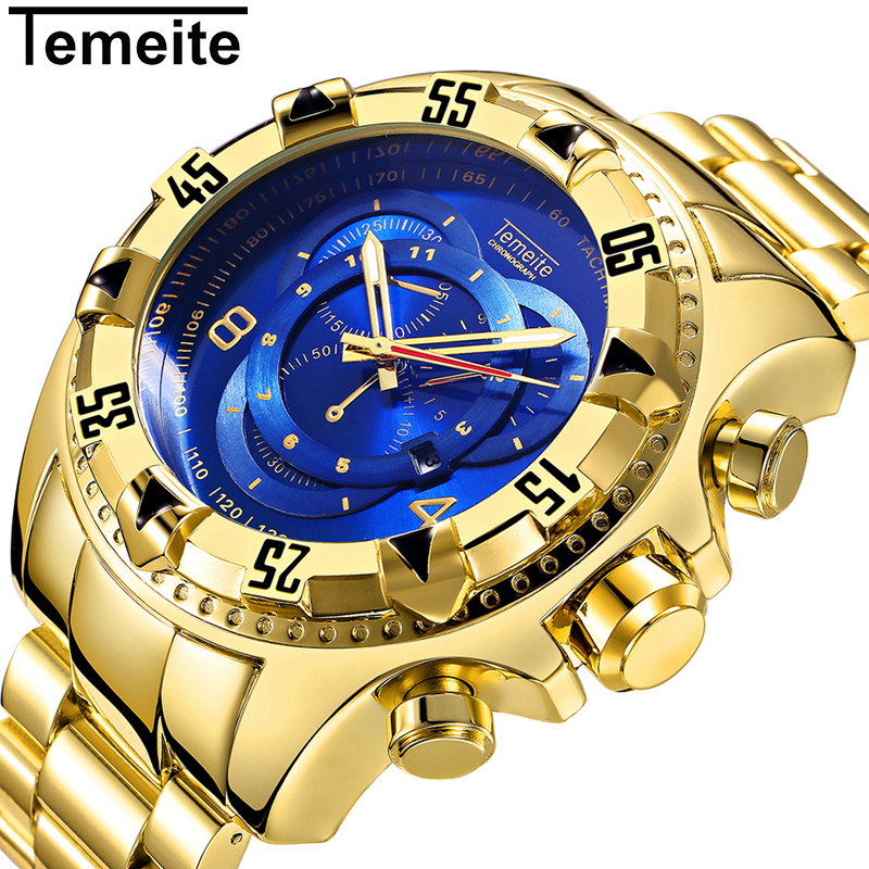 TEMEITE Military Fashion Quartz Watch Men 3D Blue Dial Stainless Steel Strap Top Brand Luxury Golden Big Dial Wrist Watches 2018 multifunction sub dial orkina men vogue luxury quartz watch golden mesh metallic strap blue round dial hot sale classic gift
