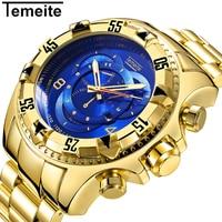 TEMEITE Military Fashion Quartz Watch Men 3D Blue Dial Stainless Steel Strap Top Brand Luxury Golden Big Dial Wrist Watches 2018