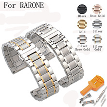 14MM/16MM/17MM/18MM/19MM/20MM/21MM/22MM/23MM/24MM Silver Black Full Stainless Steel Watch Strap Wacthband For RARONE With LOGO