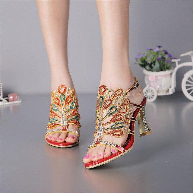 Summer 2019 Bohemian Luxury Sandals Womens Size 10 High Heels Diamond  Leather Elegant Wedding Shoes With Rhinestones b69efa92b086