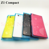 Front Middle Frame Port Plug Cover Back Glass Battery Cover For Sony Xperia Z1 Compact mini D5503 M51W Full Housing