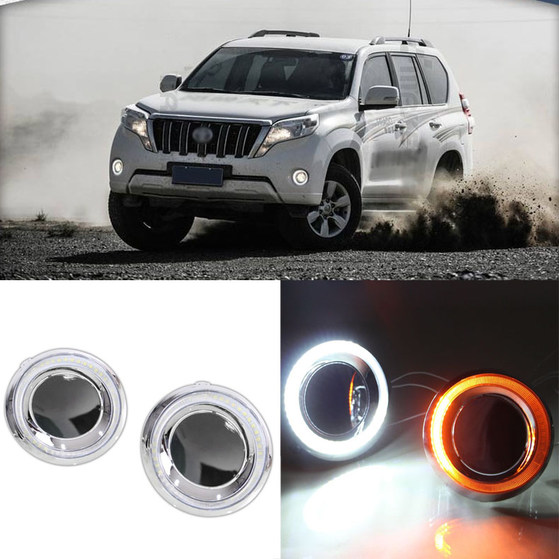 цены  Brand New Updated LED Daytime Running Lights DRL With Black Fog Light Cover For Toyota Prado 2014-2015