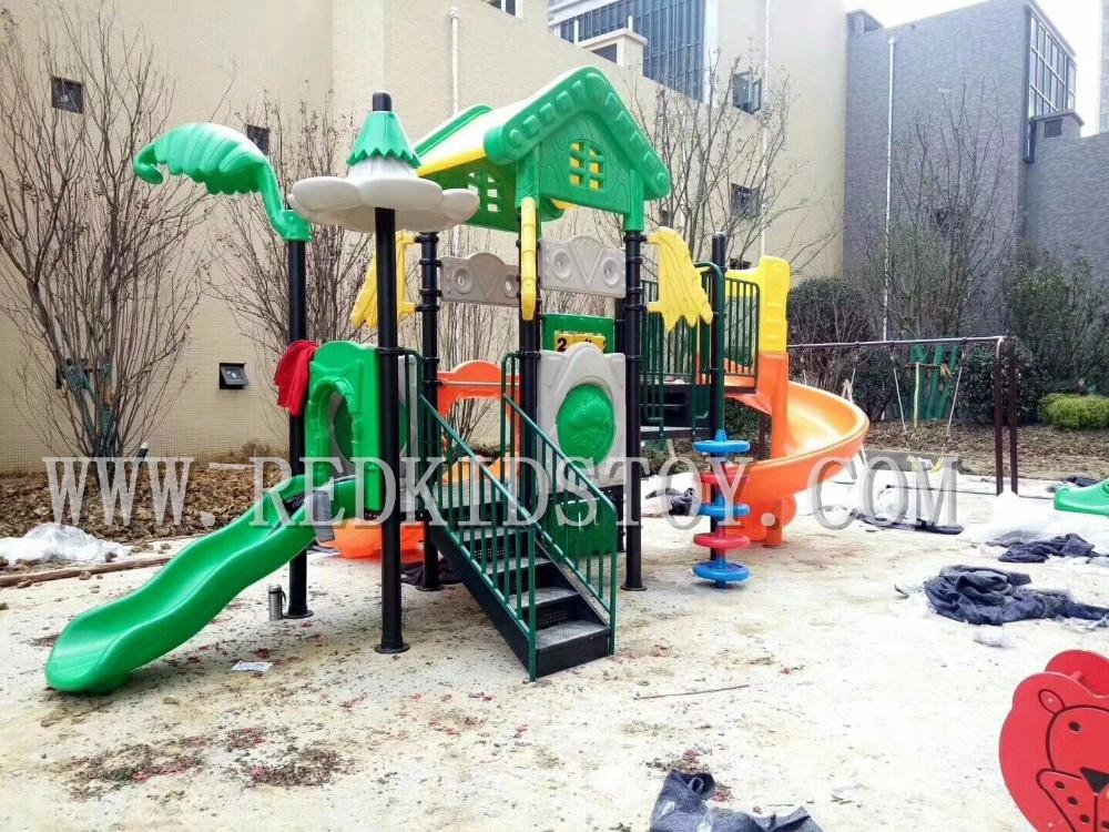 Le terrain de jeu d'enfants d'amusement pur a approuvé le HZ-71107 de glissières de terrain de jeu de jardin d'enfants