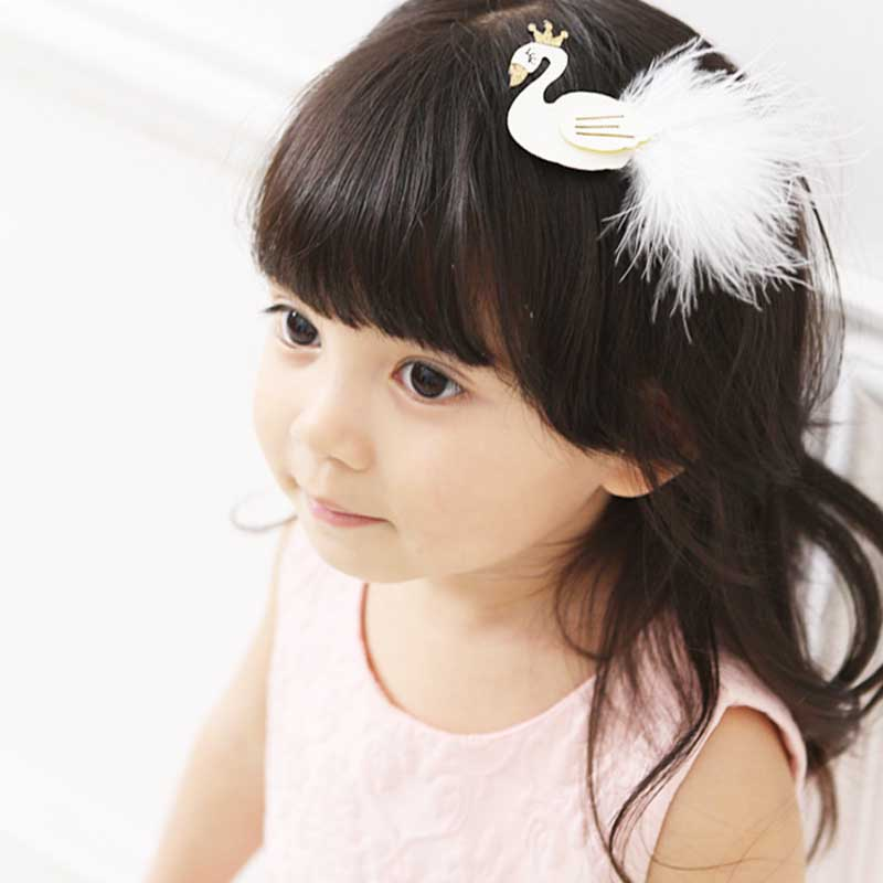 Glitter White and Black Swan Hair Clip with Gold Crown Cartoon Animal Goose Barrette with Further Princess Hairpin hair jewelry