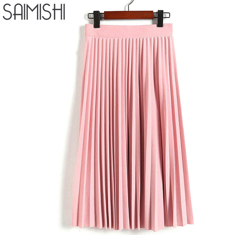 Spring Autumn New Fashion Women's High Waist Pleated Solid Color Half Length Elastic Skirt Promotions Lady Black Pink Grey