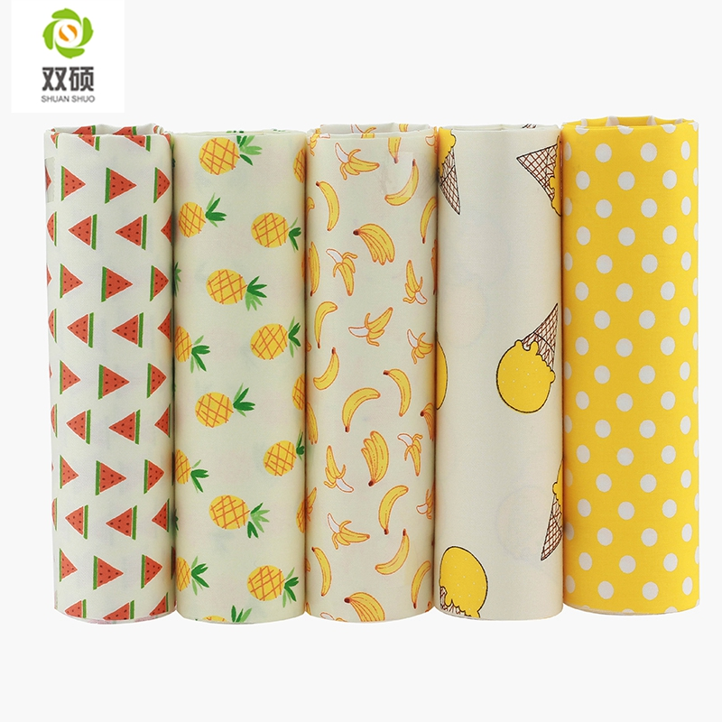 Shuanshuo Fruit Style Fat Quarter Patchwork Cloth Sying Forskjellige Størrelser Scrapbooking 100% Cotton Meter Fabric 40 * 50CM 5pcs / lot