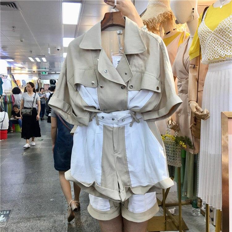Women's 2 Piece Set Casual Loose Lapel Short Sleeve Shirt Wide Leg Shorts Two Piece Set Fashion Woman