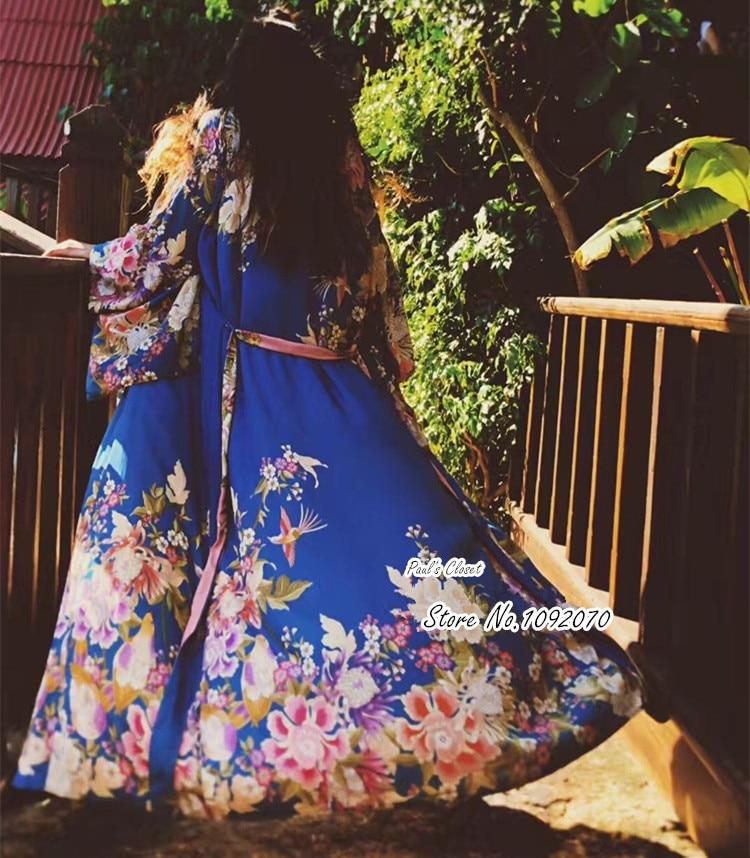 Kimono de Luxe réversible femme en bleu et rose bonbon Floral