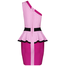 INDRESSME Summer New Women One Shoulder Slim Temperament Ladies Dress Strapless Bandage Ruffle Package Hip Dress Vestidos