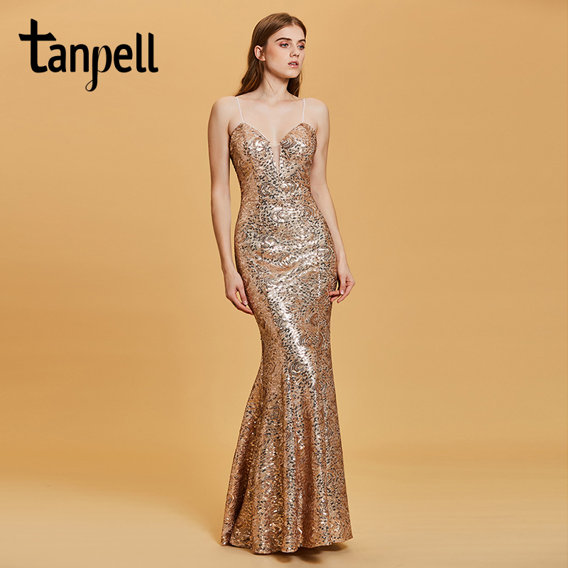 Tanpell backless evening dress golden spaghetti straps sleeveless floor  length dresses women party mermaid formal evening gown b5c3ac95d784