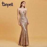 Tanpell Backless Evening Dress Golden Spaghetti Straps Sleeveless Floor Length Dresses Women Party Mermaid Formal Evening