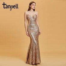Женское вечернее платье с открытой спиной tanpell золотистое