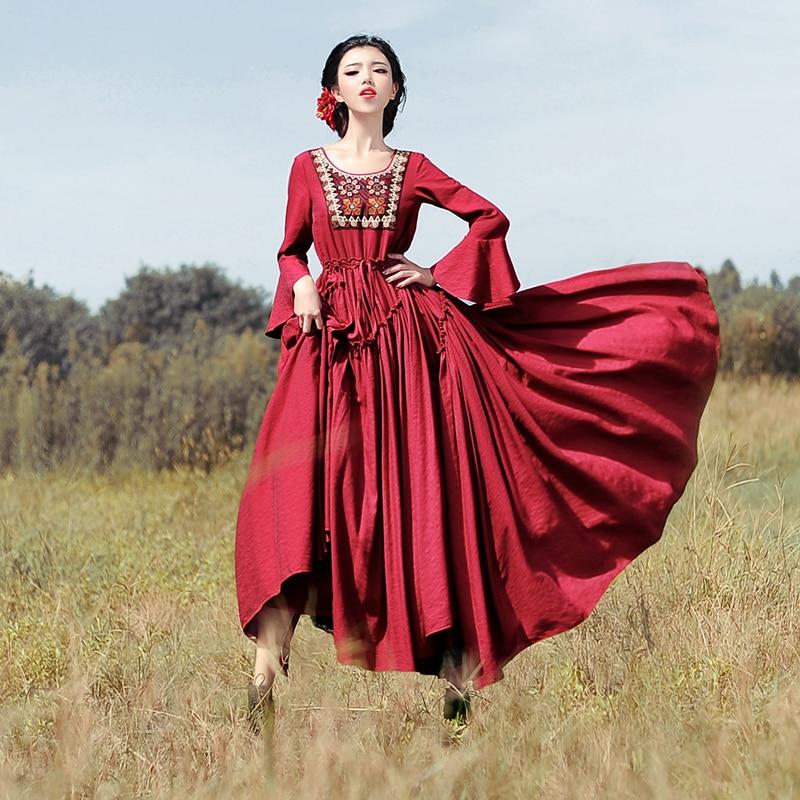 Shiping Robes Femmes Broderies Boshow Longue 2019 Vintage S Magnifique Libre Manches Sac Robe l Ruches Maxi Kelly Avec Nouveau qwvnrRBxq
