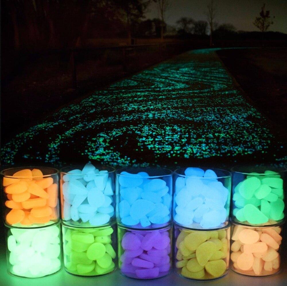 50pcs 100pcsAquarium Ornaments Stones Glow In The Dark Luminous Pebbles Stones For Garden Ornament Fish Tank Decorative 1