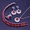 Red Garnet White Zircon 925 Sterling Silver Jewelry Sets Women Earrings/Pendant/Necklace/Bracelet Free Gifts Box