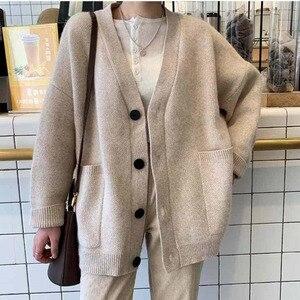Image 5 - Suéteres de moda para mujer, cárdigan de talla grande informal de Color sólido, suéter para mujer, ropa de abrigo de bolsillo elegante a la moda para otoño 2020