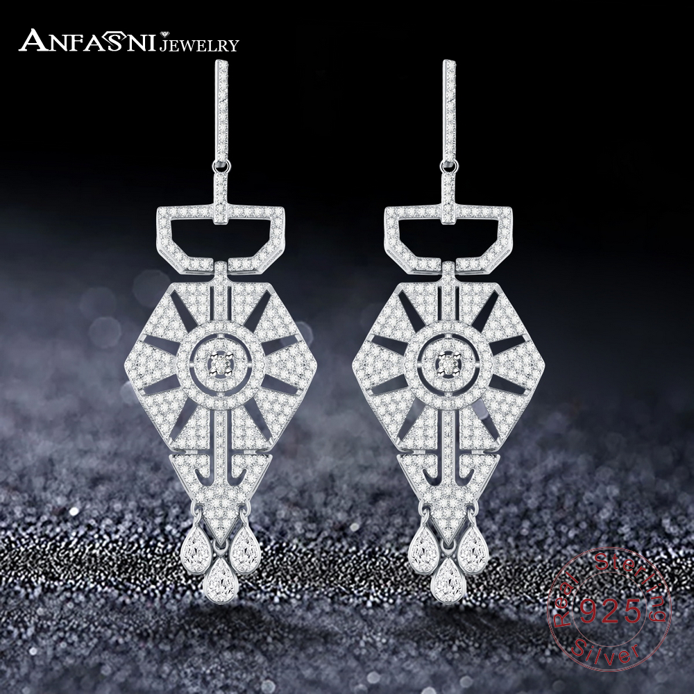 ANFASNI 925 Sterling Silver Geometric Rhombic Shape Flash Tassel Earrings Tiny Cubic Zirconia Paved Women Jewelry & Accessories цена 2017