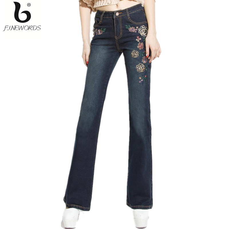 ФОТО FINEWORDS 2017 High Waist Causal Folk Style Flare Embroidered Denim Jeans Women Stretch Plus Size Bell Bottom Boot Cut Mom Jeans