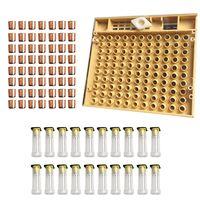 Bijenteelt Gereedschappen Apparatuur Set Queen Opfok Systeem Cultiveren Doos 110 Pcs Plastic Bee Mobiele Kopjes Cup Kit Koningin Kooi